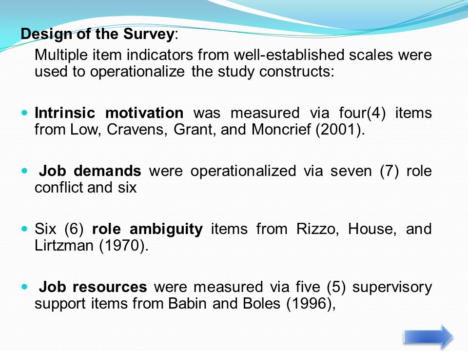 Design of the Survey: Multiple item indicators from well-established scales were used to operationalize the study constructs: