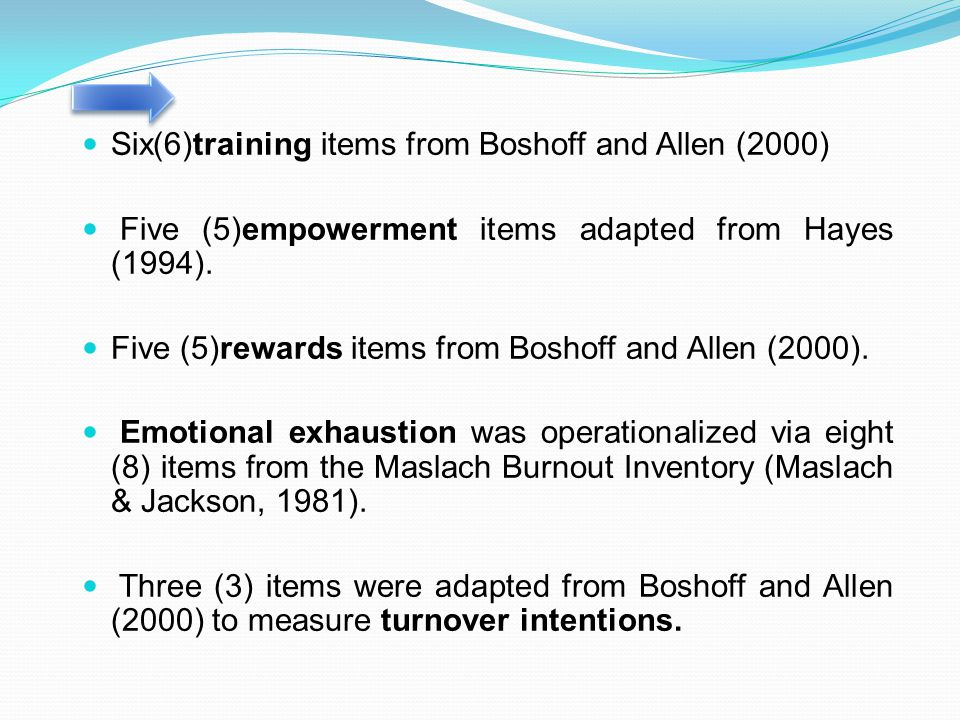 Six(6)training items from Boshoff and Allen (2000)