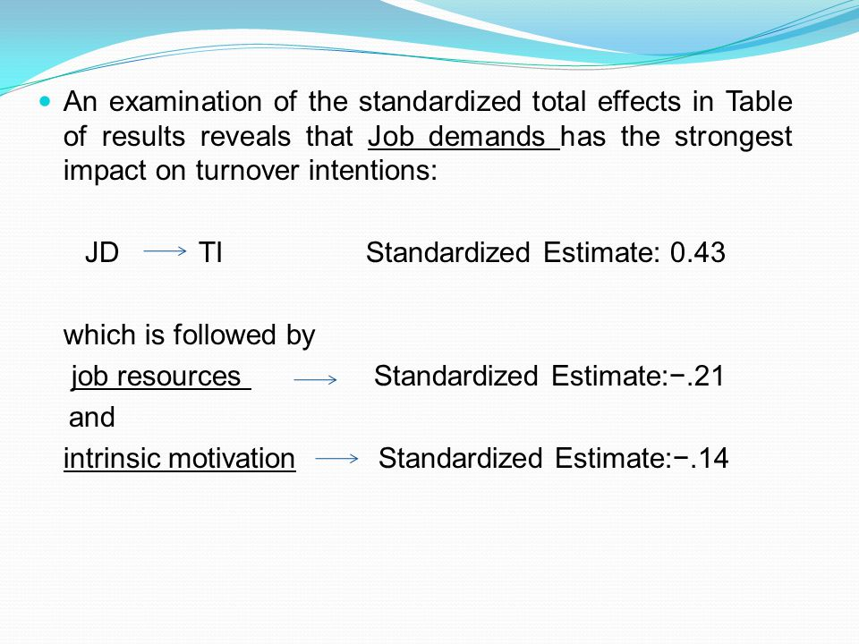 An examination of the standardized total effects in Table of results reveals that Job demands has the strongest impact on turnover intentions: