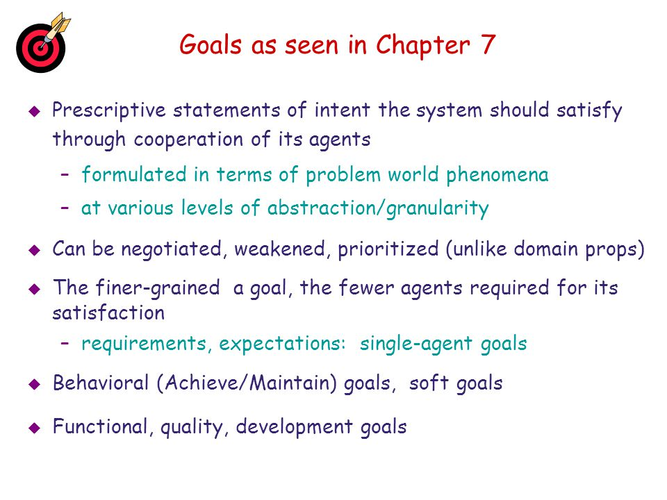 Goals as seen in Chapter 7