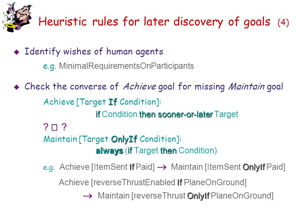 Heuristic rules for later discovery of goals (4)