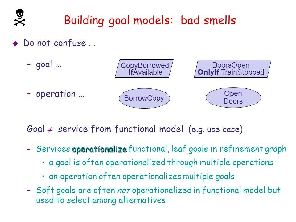 Building goal models: bad smells