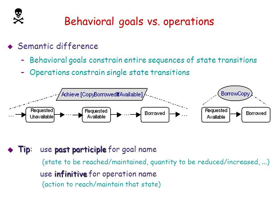 Behavioral goals vs. operations