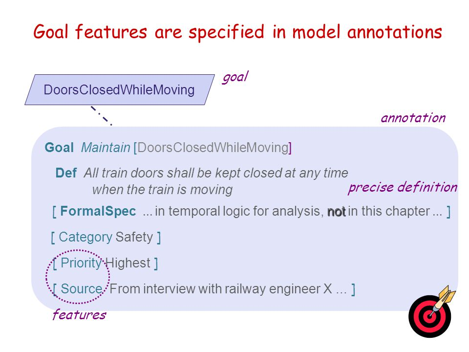 Goal features are specified in model annotations