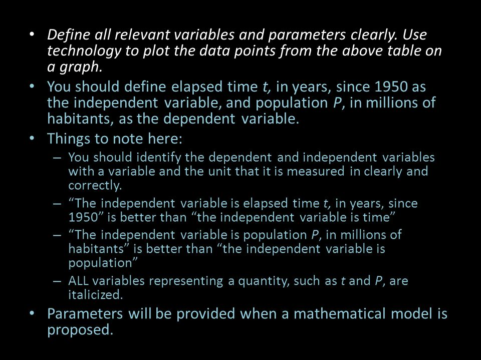 Parameters will be provided when a mathematical model is proposed.