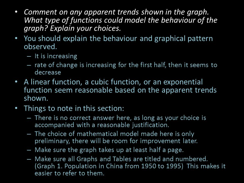 You should explain the behaviour and graphical pattern observed.