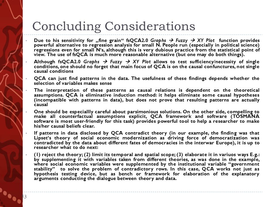 Concluding Considerations