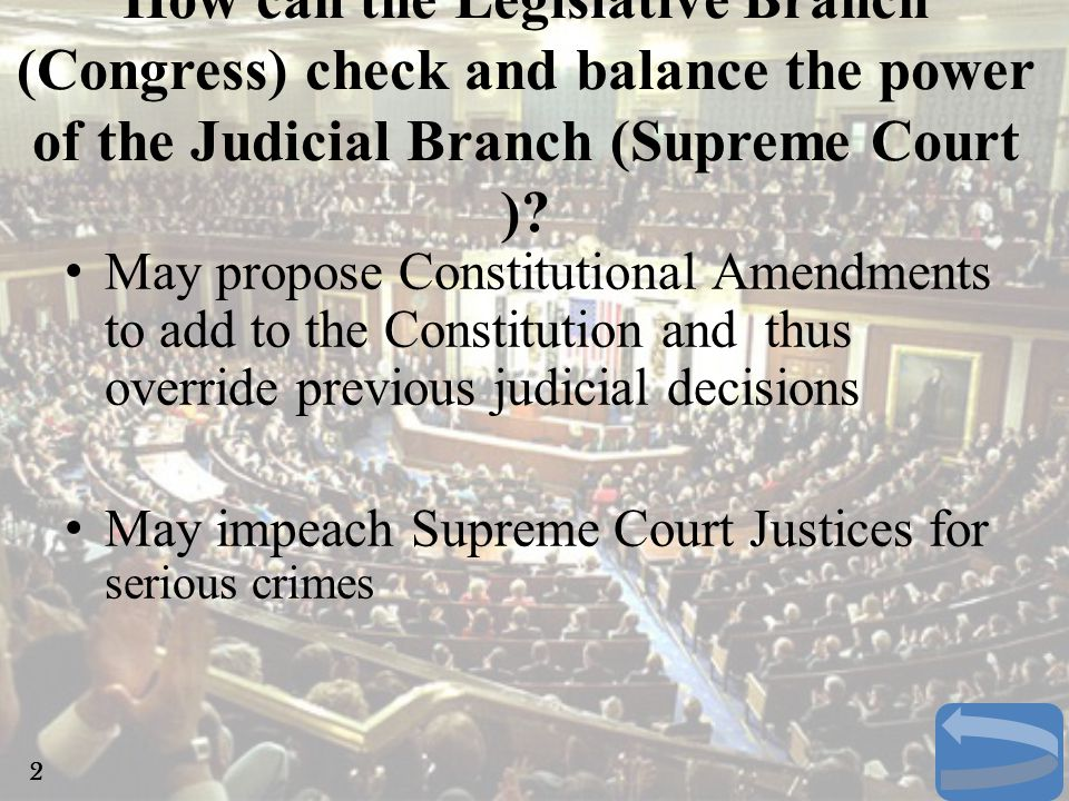 How can the Legislative Branch (Congress) check and balance the power of the Judicial Branch (Supreme Court )