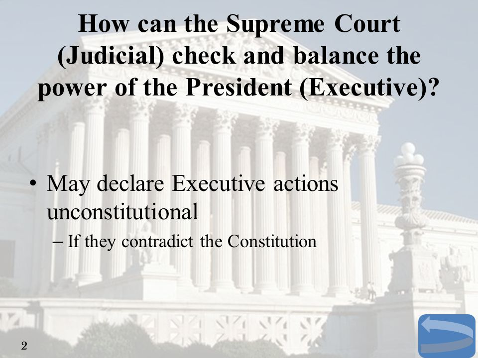 How can the Supreme Court (Judicial) check and balance the power of the President (Executive)