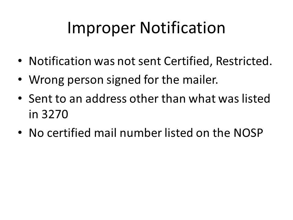 Improper Notification