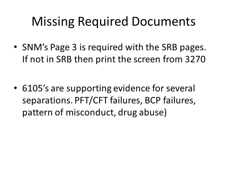 Missing Required Documents