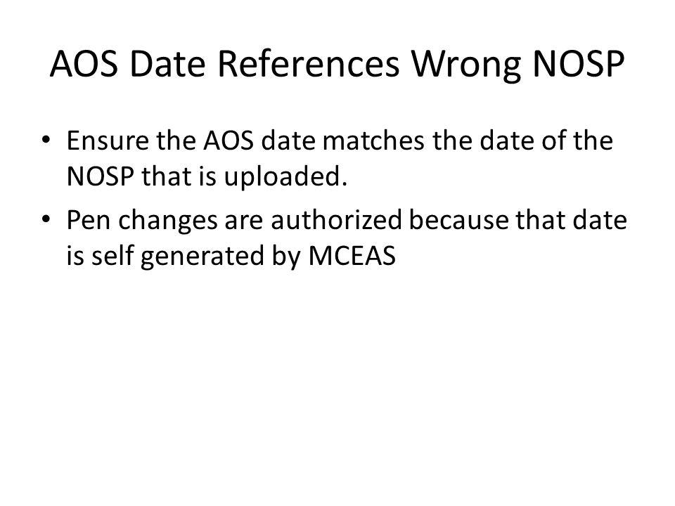 AOS Date References Wrong NOSP