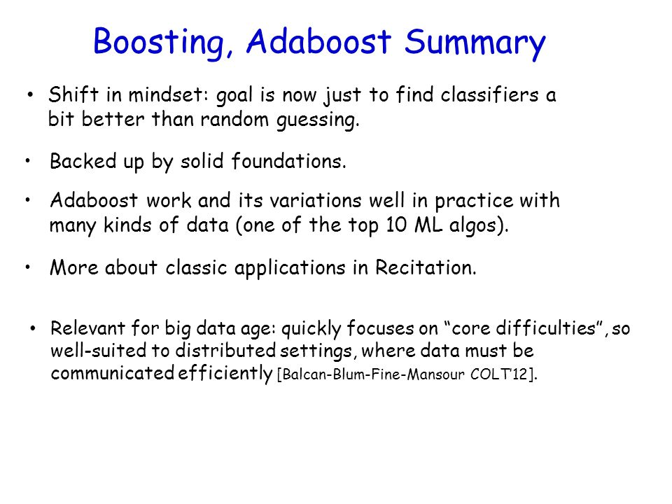 Boosting, Adaboost Summary