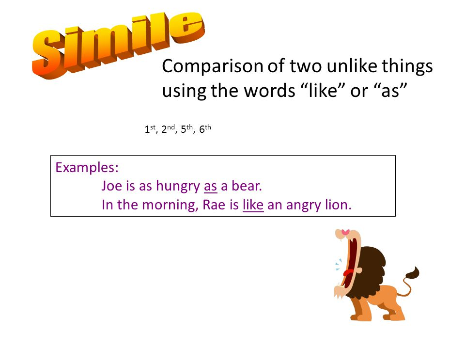 Simile Comparison of two unlike things using the words like or as