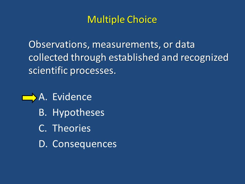 Multiple Choice Observations, measurements, or data collected through established and recognized scientific processes.