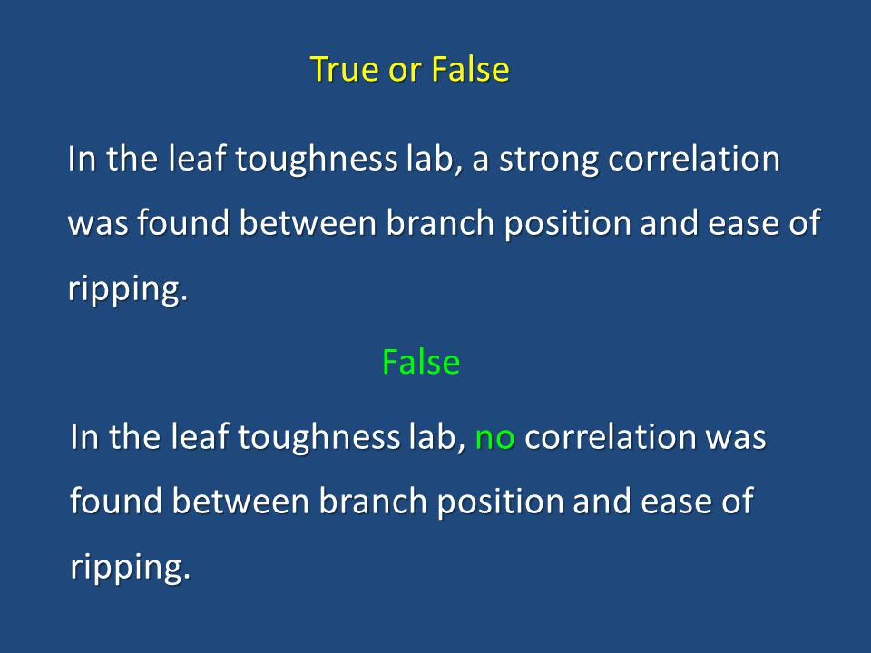 True or False In the leaf toughness lab, a strong correlation was found between branch position and ease of ripping.