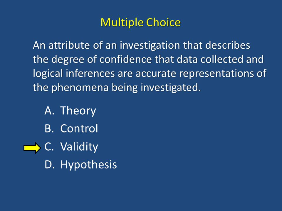 Multiple Choice Theory Control Validity Hypothesis