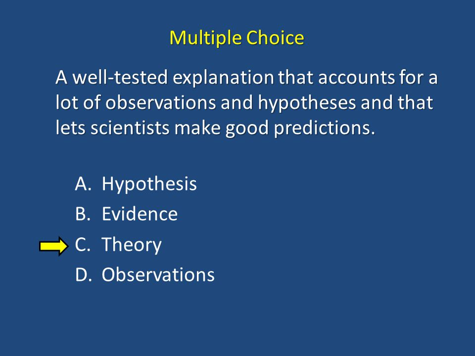 Multiple Choice A well-tested explanation that accounts for a lot of observations and hypotheses and that lets scientists make good predictions.