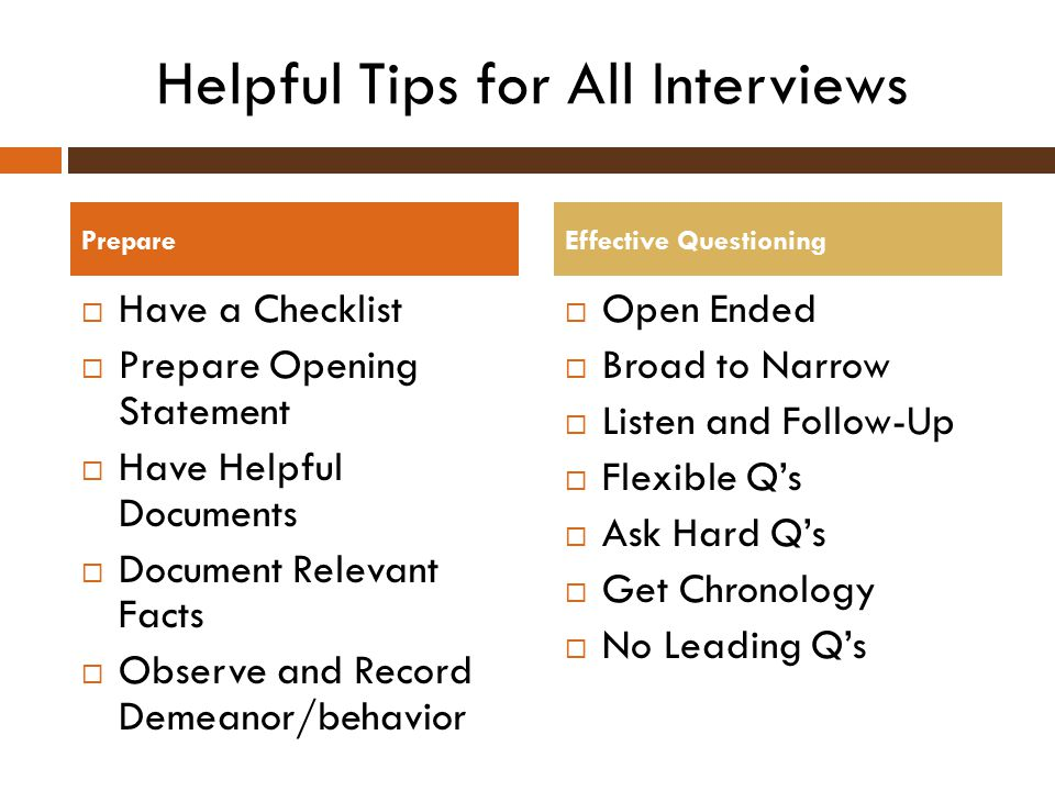 Helpful Tips for All Interviews