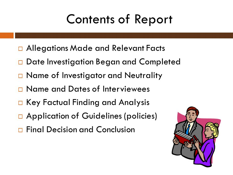 Contents of Report Allegations Made and Relevant Facts