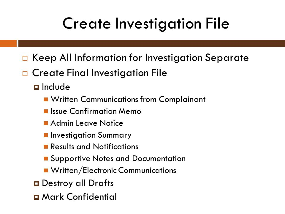 Create Investigation File