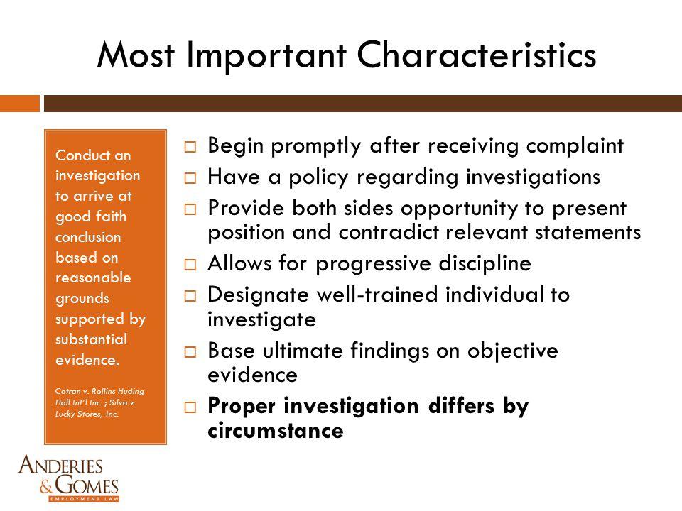 Most Important Characteristics