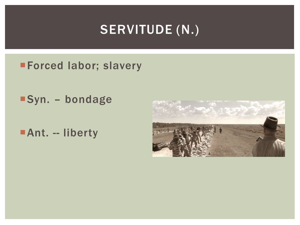 Servitude (n.) Forced labor; slavery Syn. – bondage Ant. -- liberty