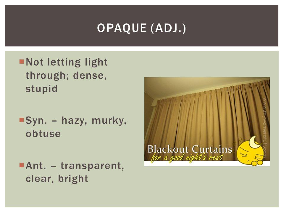 Opaque (adj.) Not letting light through; dense, stupid