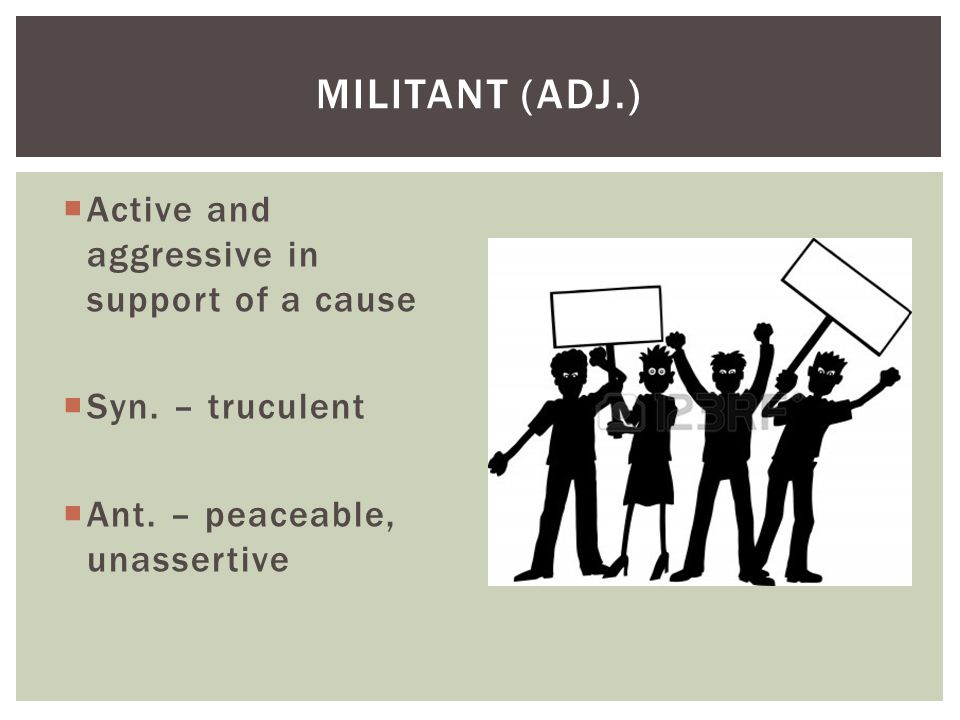 Militant (adj.) Active and aggressive in support of a cause
