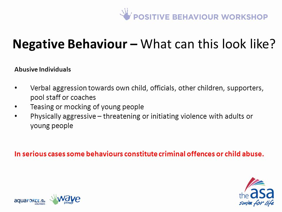 Negative Behaviour – What can this look like
