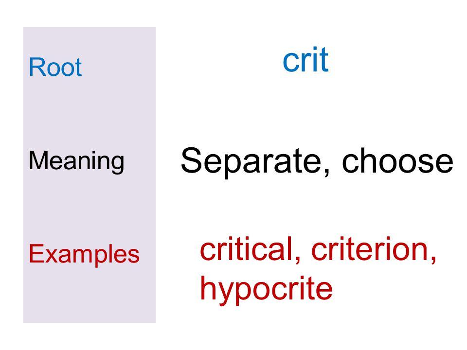 crit Separate, choose critical, criterion, hypocrite