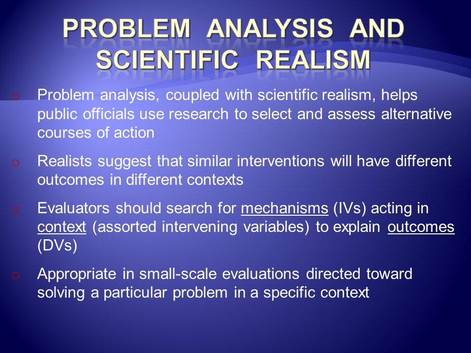 Problem Analysis and Scientific Realism