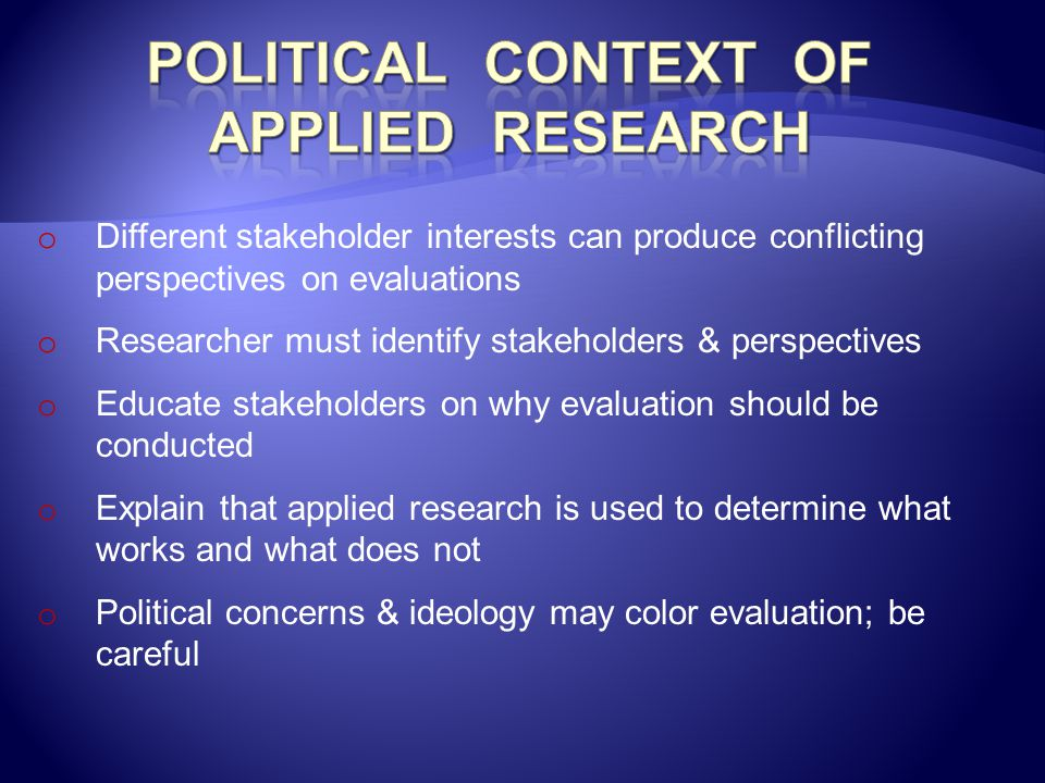 Political Context of Applied Research