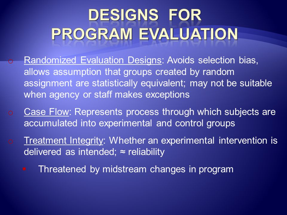 Designs for Program Evaluation