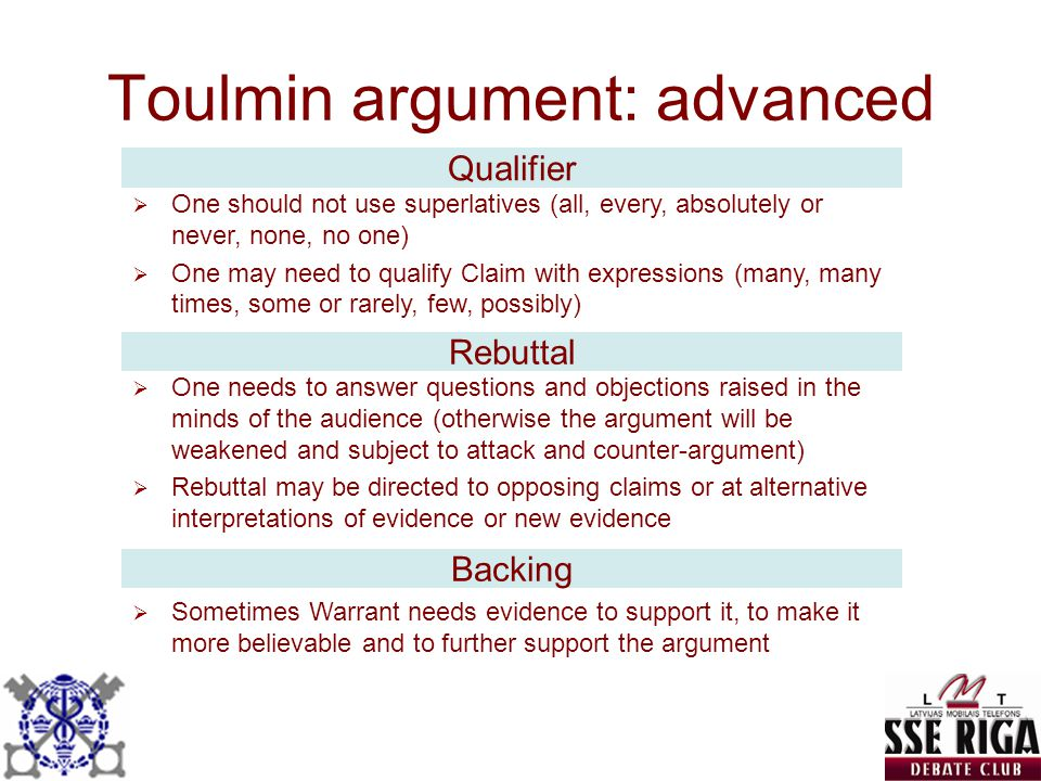 Toulmin argument: advanced
