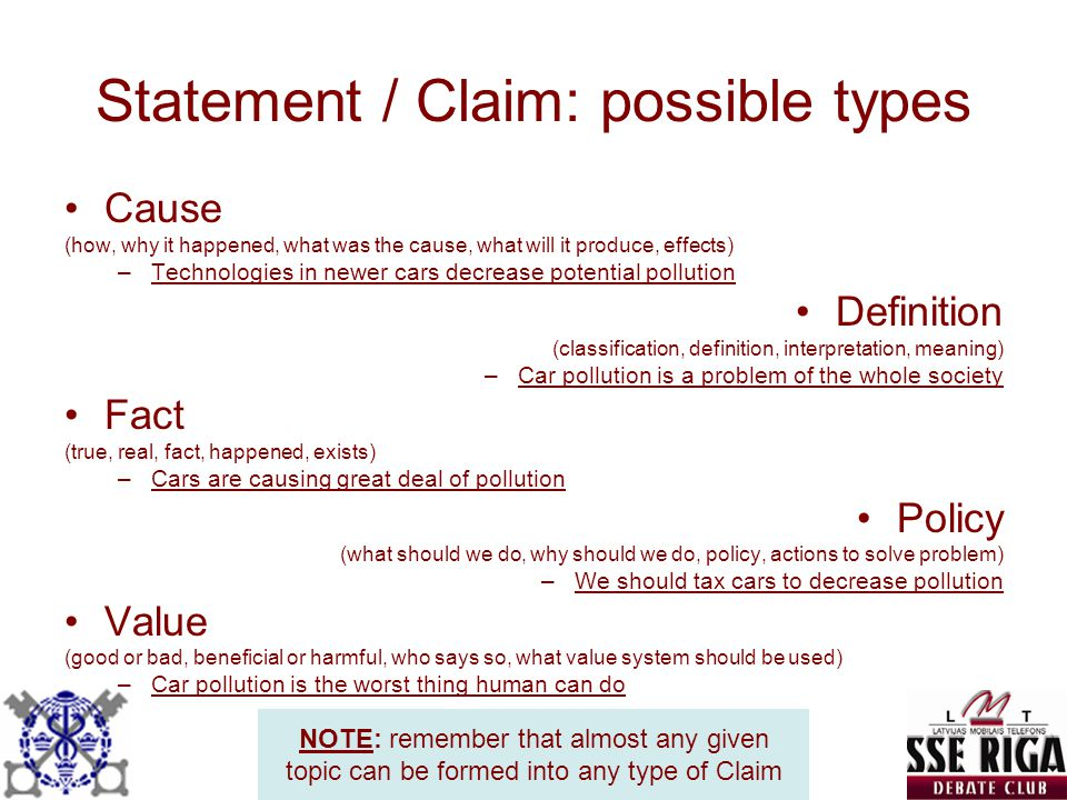 Statement / Claim: possible types