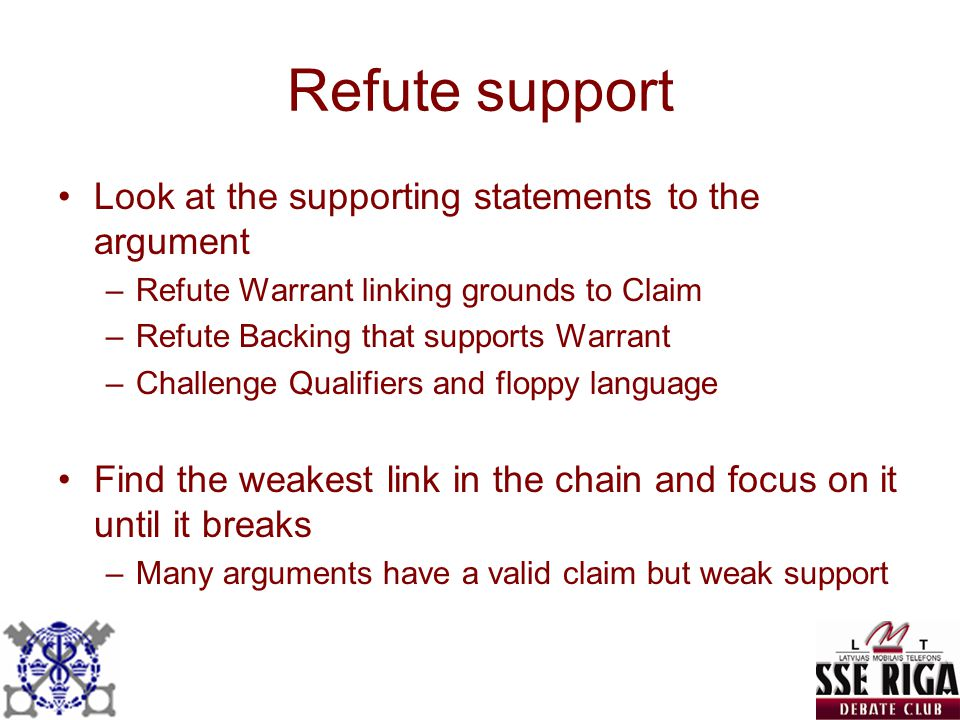 Refute support Look at the supporting statements to the argument