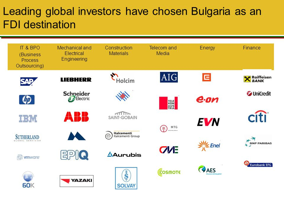 Leading global investors have chosen Bulgaria as an FDI destination
