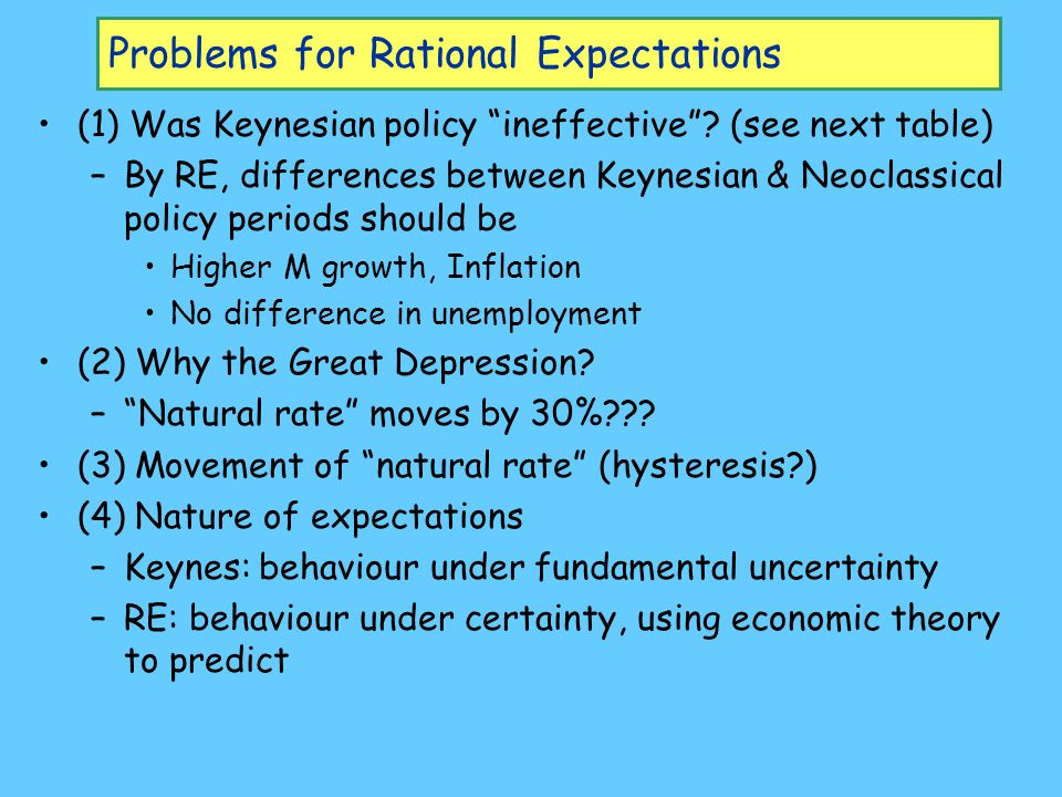 Problems for Rational Expectations