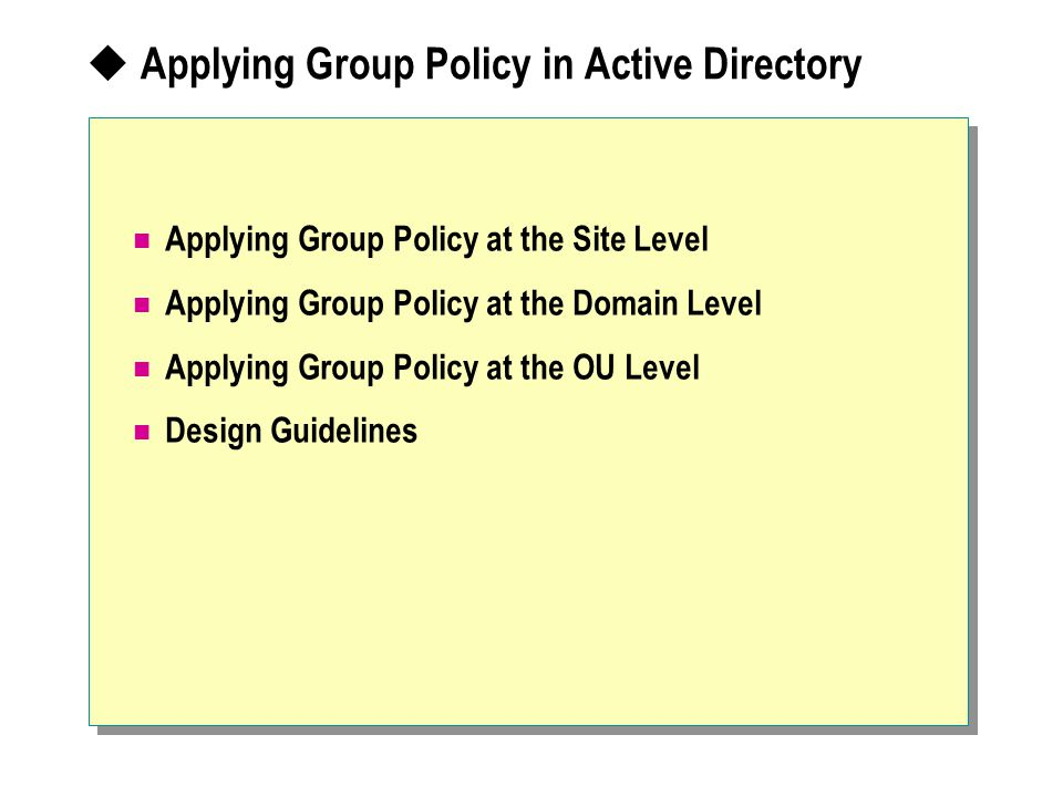 Applying Group Policy in Active Directory