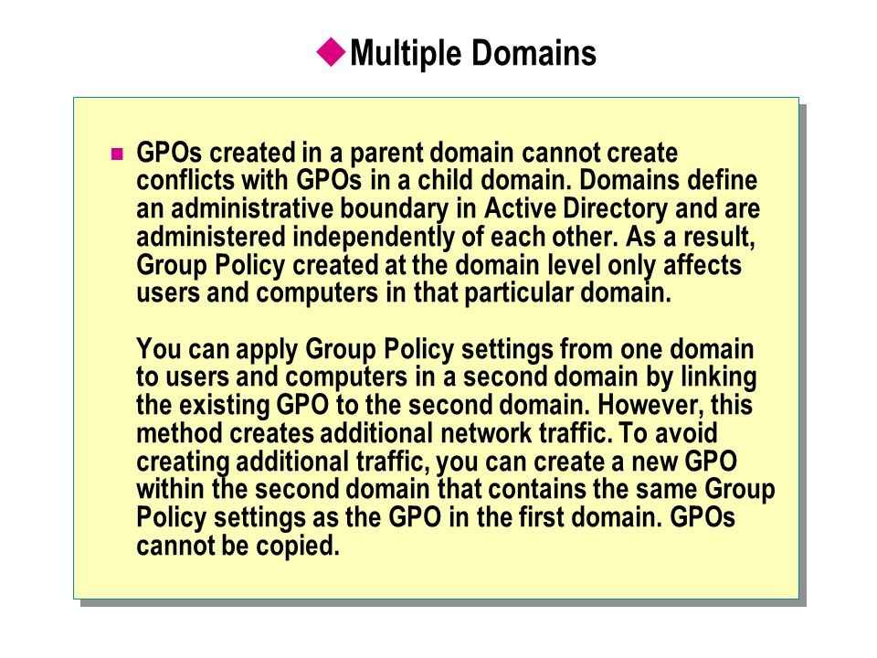 Multiple Domains