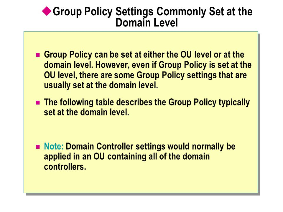 Group Policy Settings Commonly Set at the Domain Level