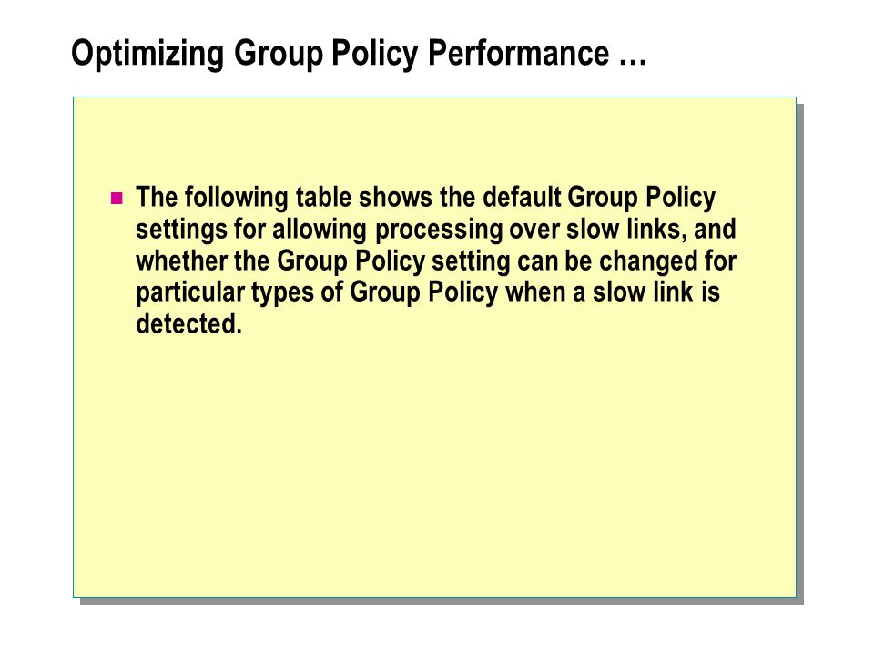 Optimizing Group Policy Performance …