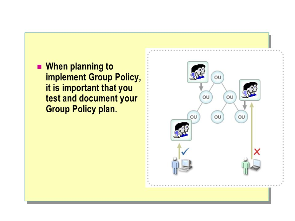 When planning to implement Group Policy, it is important that you test and document your Group Policy plan.