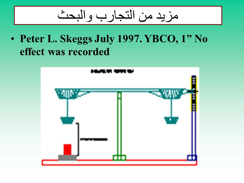مزيد من التجارب والبحث Peter L. Skeggs July 1997. YBCO, 1 No effect was recorded