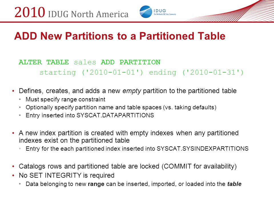 ADD New Partitions to a Partitioned Table