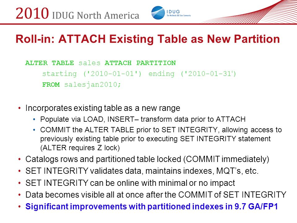 Roll-in: ATTACH Existing Table as New Partition