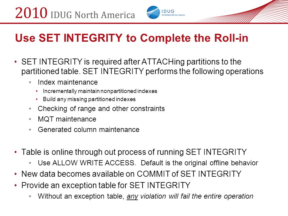 Use SET INTEGRITY to Complete the Roll-in