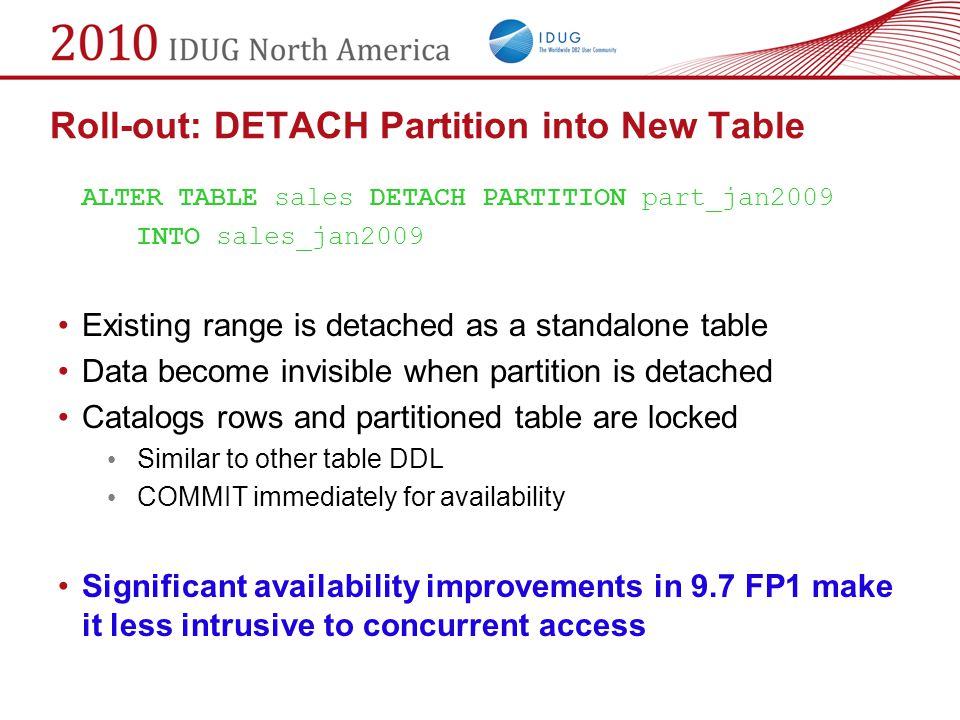 Roll-out: DETACH Partition into New Table
