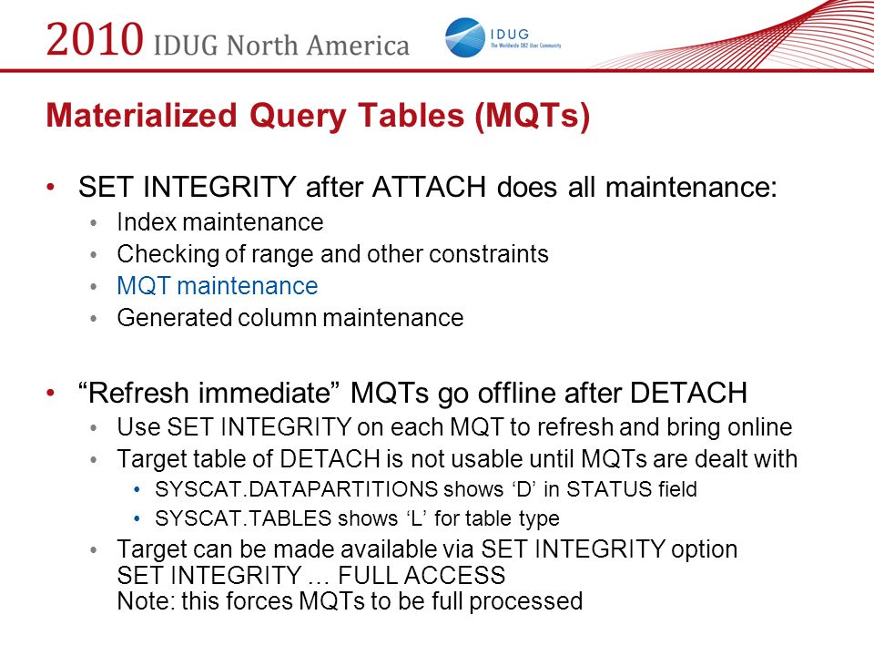 Materialized Query Tables (MQTs)